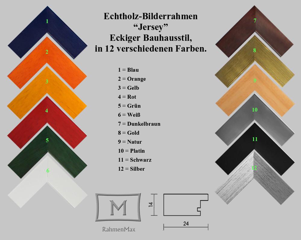 Bauhausstil in 12 Farben. Massivholz-Bilderrahmen JERSEY 50 x 65 cm