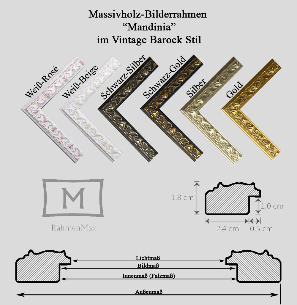 Massivholz Echtholz Bilderrahmen Mandinia 36 x 46 cm 6 Farben zur Auswahl